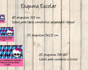 Etiqueta Escolar Monster High