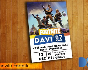 Arte Convite Digital Fortnite