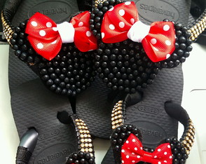 Chinelo Bordado Pérolas Minnie