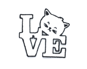 Patch Bordado Termocolante Love Gatinho
