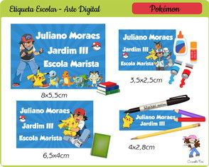 Kit Digital Etiqueta Escolar Pokémon