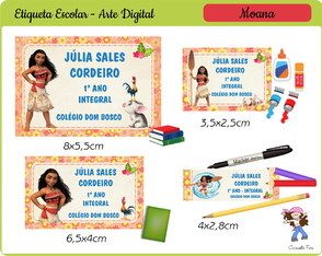 Kit Digital Etiqueta Escolar Moana