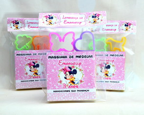 Kit Massinha Modelar Personalizada Minnie Rosa + 2 moldes M2