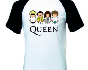 Camiseta Raglan Queen Logo Banda Rock