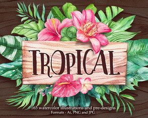 Kit Digital Imagem Aquarela floral tropical