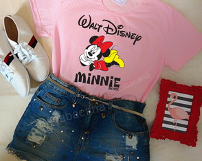 blusa baby look personagens Disney