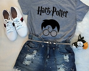 Blusa baby look feminina Harry Potter