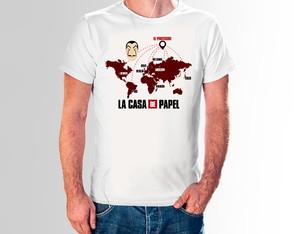 Camiseta La Casa de Papel Série Netflix Mapa Camisa Branca 8a8c5005de12f