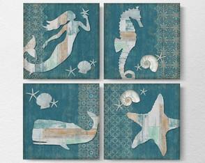 4 Quadros Decorativos Madeira Demolição