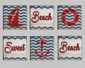 6 Quadros Decorativos Beach Sweet Beach