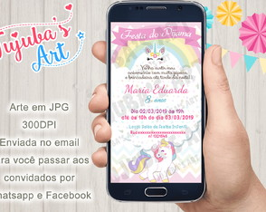 Convite Digital Festa do Pijama Unicórnio para Whatsapp