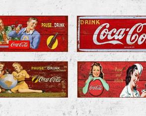 4 Placas Decorativas Publicidade Coca Cola