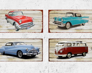4 Placas Decorativas Carros Antigos