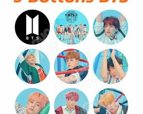 BTS Kit 9 Bottons Kpop Button Foto Boton Bottom Bangtan Boys