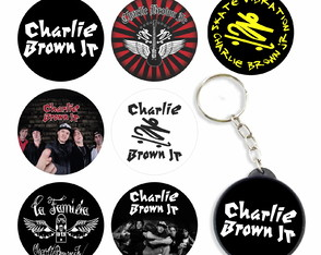 Kit 7 Bottons 1 Chaveiro Charlie Brown Jr Botons Rock Button