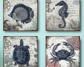 4 Quadros Decorativos Postal Litoral