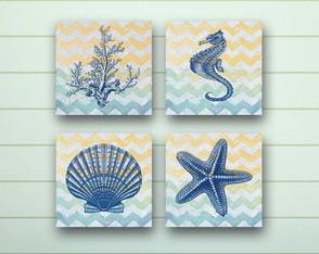 4 Quadros Decorativos Praia Chevron