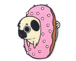 Patch Bordado Termocolante Cachorro Pug Donut
