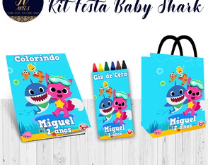 Kit colorir Baby Shark Revista + Giz de cera + Sacolinha