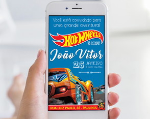 Convite Digital - Hot Wheels