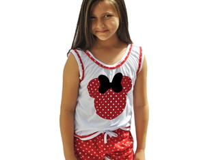 026 Baby Short Doll Camiseta Regata Minnie Infantil Vermelha