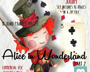 Kit scrapbook digital aquarela chapeleiro Alice