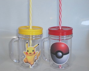 Caneca Mason Jar de 400ml Pókemon Pikachu Pokebola