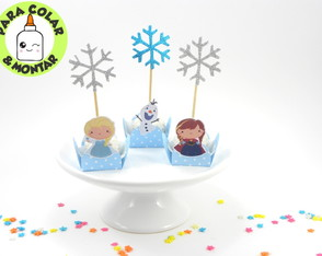 50 forminhas + 50 toppers para doces Frozen Cute para colar