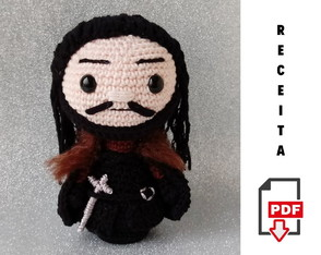 Receita Amigurumi Jon Snow Boneco Game of Thrones