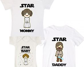 Kit 3 Camisetas Família Star Wars Mommy Daddy Baby