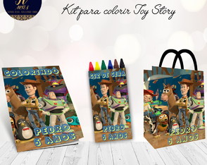 Kit colorir Toy Story Revista + Giz de cera + Sacolinha