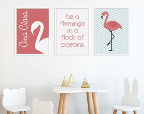 Quadrinho Flamingo Rosa