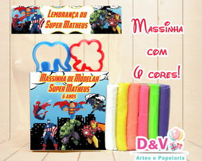Kit Massinha Modelar Super Heróis - com Moldes