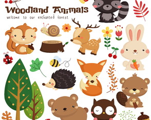 Kit scrapbook vetores clipart cute animais do bosque