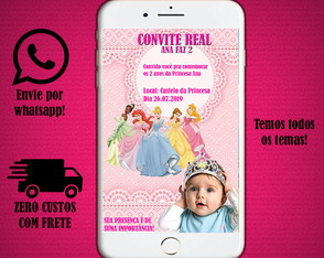 Convite digital das princesas da Disney