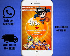 Convite digital do Dragon Ball