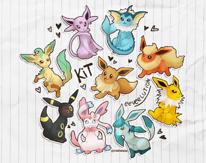 Kit de adesivos pokemon - eeveelution