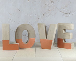 Love Amor Letras Em Cimento Rose Gold Decor Rústico
