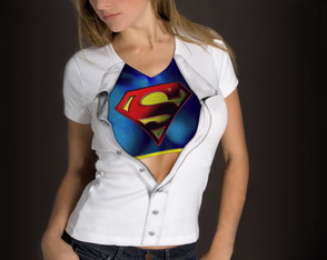 Baby-look feminina Adulto Disfarce Super Girl - Novo Modelo
