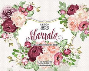 For de Marsala Kit digital elementos cliparts aquarela