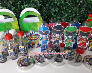 KIT FESTA 100 pcs power rangers dino charge+bandeirola+topo