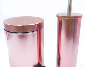Kit Lixeira Inox 5l Rose Gold Escova Sanitaria Inox Rose