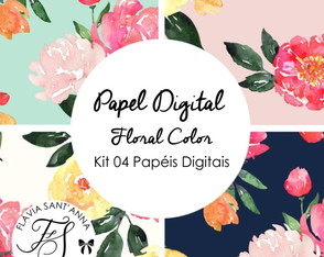 Kit Papel Digital Floral Color