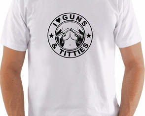 Camiseta Masculina I Love Titties And Guns Armas peitos FBI