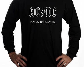 Manga Longa ACDC Back In Black Rock Personalizados logo