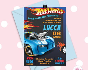 Arte Convite Hot Wheels