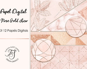 Kit Papel Digital Rose Gold Luxo