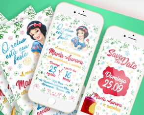 Convite Digital + Save the Date - Branca de Neve
