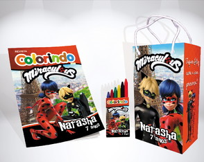 Kit de colorir Ladybug e Cat Noir Sacola Giz Revista brinde