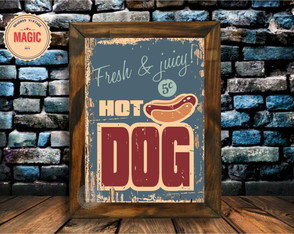 Quadro Rústico Hot dog Vintage